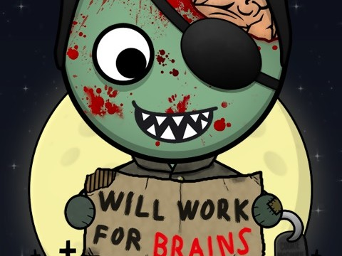 Cartoon zombie with sign that says will work for brains.